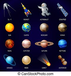 Planets icon set, cartoon style