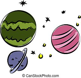 Planets in space, illustration, vector on white background