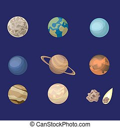 Planets in space set.