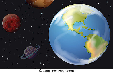 Planets in the outerspace - Illustration of the planets in...