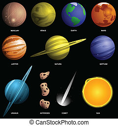 Planets isolated on black (not to scale) - Solar system and...