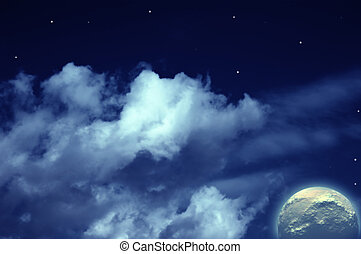 Planets, moon and stars in cloudy sky - Planets, moon stars...