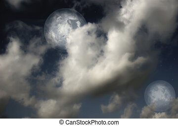 Planets,  moon and stars in  cloudy sky