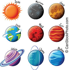 Planets of the Solar System - lllustration of the planets of...