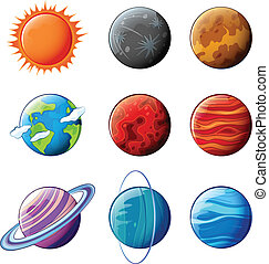 Planets of the solar system - Illustration of the planets of...