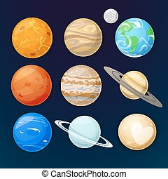 Planets of the solar system, vector illustration