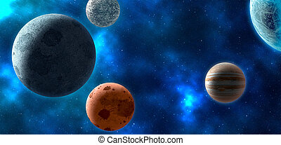 Planets over the nebula. 3D rendering - Planets over the...