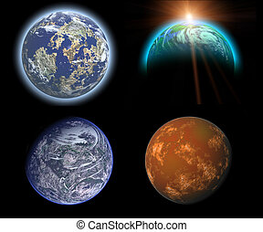 planets set - fantasy planet collection set illustrations