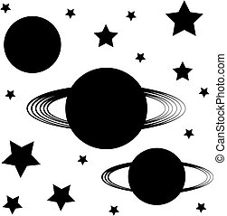 Planets silhouette isolated on white background- symbol