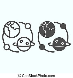 Planets universe line and solid icon. Earth and Saturn with satellites in solar system. World space week design concept, outline style pictogram on white background, use for web and app. Eps 10.