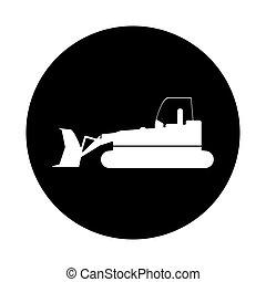 planierraupe, baugewerbe, lastwagen zeichen, piktogramm