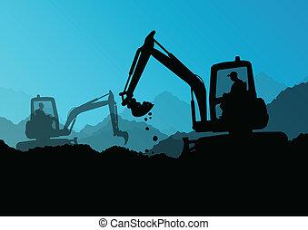 planierraupe, industrie, graben, bagger, arbeiter, standort, abbildung, traktoren, vektor, hintergrund, baugewerbe, güterverlader
