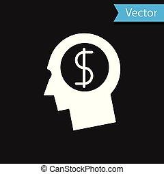 planificação, cabeça, vetorial, ganhar, negócio, dólar, concept., dinheiro., idéia, símbolo., isolado, experiência., crescimento, pretas, ilustração, human, branca, homem, investimento, mente, ícone
