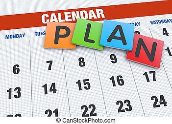 planificação, calendário, conceito