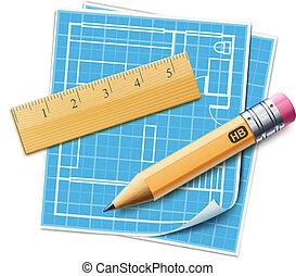 planificação, casa, conceito, esquema