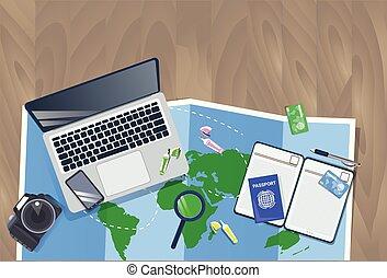 planificação, conceito, foto, topo, férias, mapa, laptop, câmera, passaporte, viajante, desktop, vista