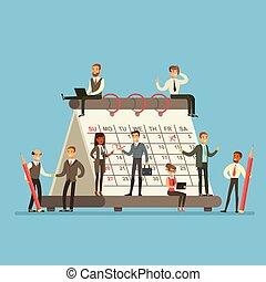 planificação, discutindo negócio, pessoas, trabalhando, estratégia, falando, gigante, calendário, ao redor, firma