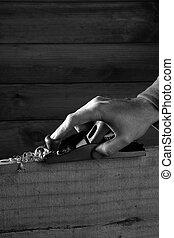planificação, ferramenta, carpinteiro, mão, madeira, planer, homem