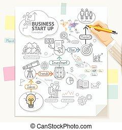 planificação, lápis, illustration., ícones negócio, cima, mão, início, vetorial, segurando, doodles, conceitual, homem negócios, style., writing.