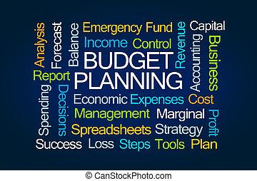 planificação, palavra, orçamento, nuvem