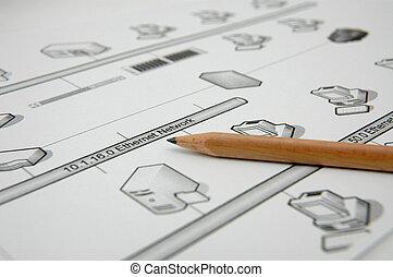 planificação, -, rede, computador
