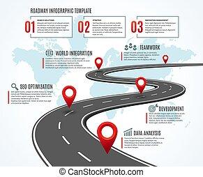 planificação, rota, map., negócio, maneira, infographic, estratégia, estrada, workflow, timeline, success., marcos