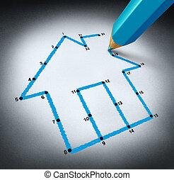 planificação, um, lar