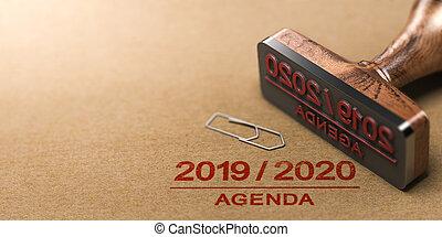 planificación, agenda, papel, encima, o, 2019, 2020, plano de fondo, reciclado