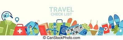 planificación, bandera, embalaje, cheque, copia, lista, horizontal, templae, viaje, concepto, espacio
