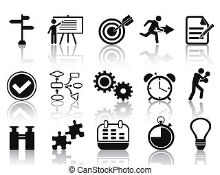 planificación, conjunto, negro, iconos