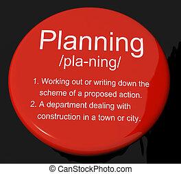 planificación, definición, botón, actuación, organizador, estrategia, y, esquema