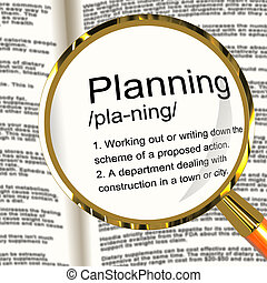 planificación, definición, lupa, actuación, organizador, estrategia, y, esquema