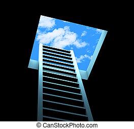 planificación, escalera, medios, escápese, y, aspiraciones