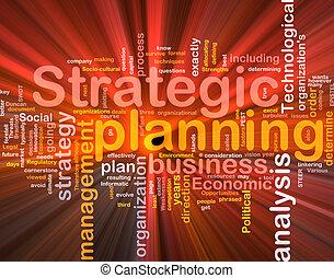 planificación estratégica, palabra, nube, caja, paquete