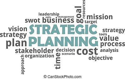 planificación, -, estratégico, palabra, nube