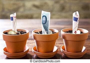 planificación financiera, euro, inversión, concepto