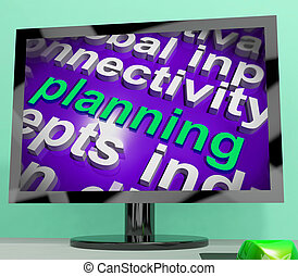 planificación, palabra, nube, exposiciones, objetivos, plan, y, organizar