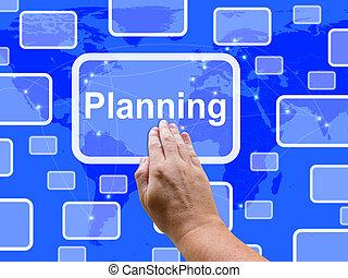 planificación, pantalla del tacto, exposiciones, objetivos, plan, y, organizar
