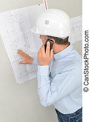 planificación, un, construcción, edificio