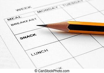 planificador, comida