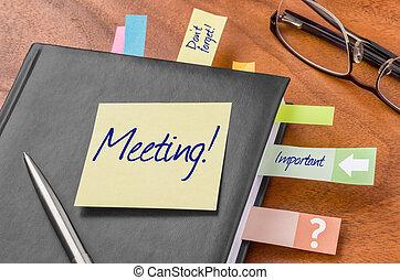 planificador, con, nota pegajosa, -, reunión