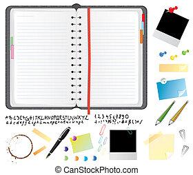 planificador, conjunto, diario