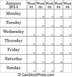 planificador, enero, débil, número, cada, 2014
