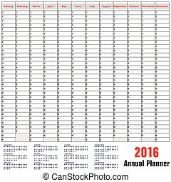planificador, horario, anual, -, tabla, 2016
