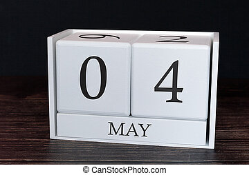 planificateur, business, horaire, mai, concept., evénements, 4ème, month., organisateur, date, calendrier, ou, jour