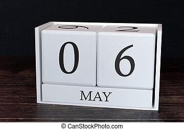 planificateur, business, horaire, mai, concept., evénements, month., 6ème, date, organisateur, calendrier, ou, jour
