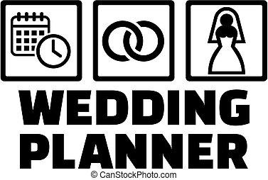 planificateur, icônes, mariage