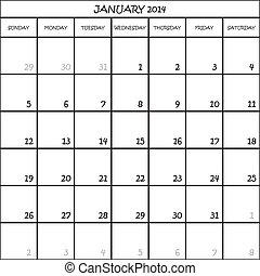 planificateur, janvier, mois, fond, 2014, calendrier,...