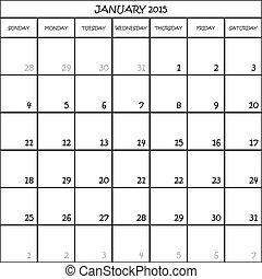 planificateur, janvier, mois, fond, 2015, calendrier, transparent