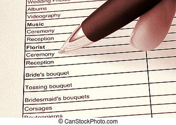 planificateur, mariage